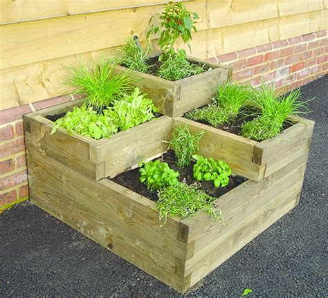 Bed Planter by Raised Beds Tiered Timber Planter