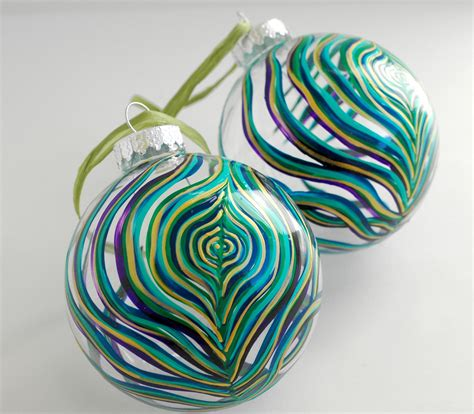 items similar to peacock feather glass ornament large