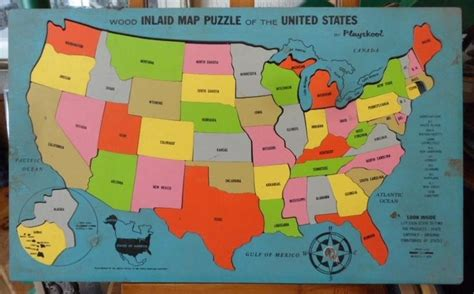 vintage wood inlaid map puzzle of the united states by