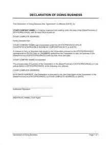 declaration document template declaration of doing business template sle form