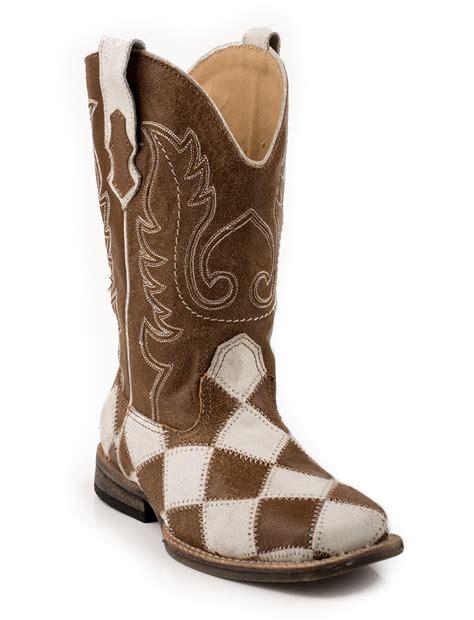 Patchwork Cowboy Boots - roper boys cowboy boots brown sq toe crackled