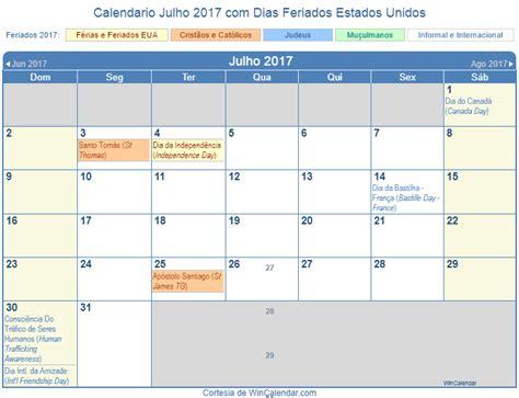 Calendario Lunar Julho 2017 Calendario 2017 Feriados