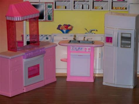 barbie kitchen furniture mattel barbie folding pretty house collection dollhouse