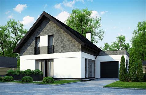 Colonial Saltbox House Plans Dom Parterowy Z Poddaszem Użytkowym I Garażem Czarny