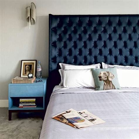 love the cushion and dark blue headboard decor pinterest