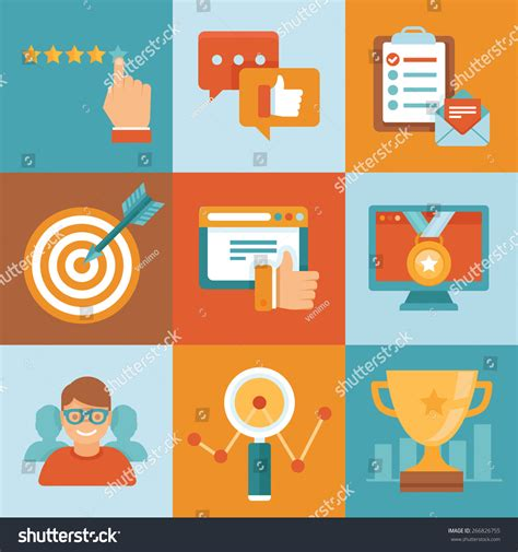 vector flat customer experience concepts vector flat customer service concepts icons stock vector 266826755
