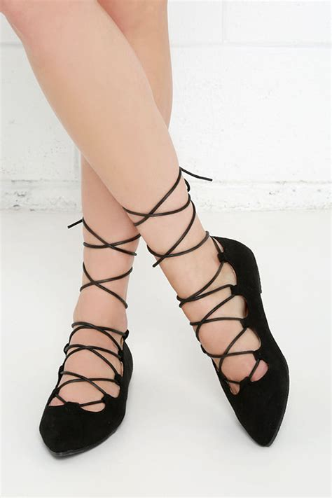Cute Black Flats   Suede Flats   Lace Up Flats   $25.00