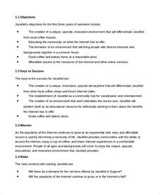 business plan cafe template business plan template 14 free word pdf documents