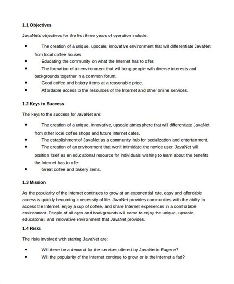 cafe business plan template business plan template 14 free word pdf documents