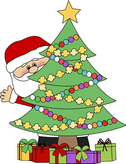 christmas clip art santa behind a christmas tree clip art