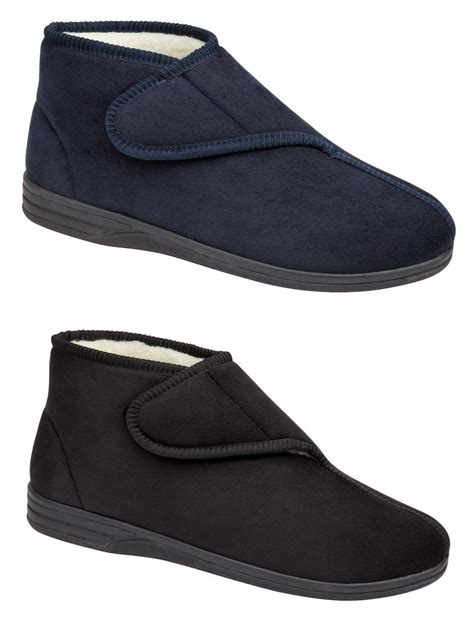 mens boots velcro mens micro suede fur lined velcro boots slippers blue