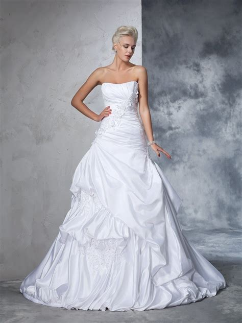 Robe De Mariée Marquise Manche Longue - robe de bal sans bretelles appliqu 233 s sans manches longue