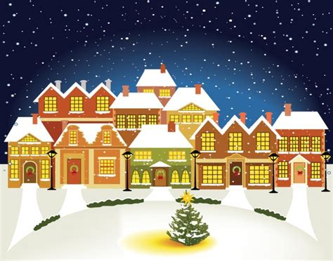 cartoon christmas lights house building vector free vector