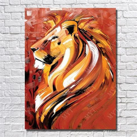 2018 Strong Lion Pictures Hand Painted Acrylic Animal Oil Painting For Living Room Wall Painting Pictures
