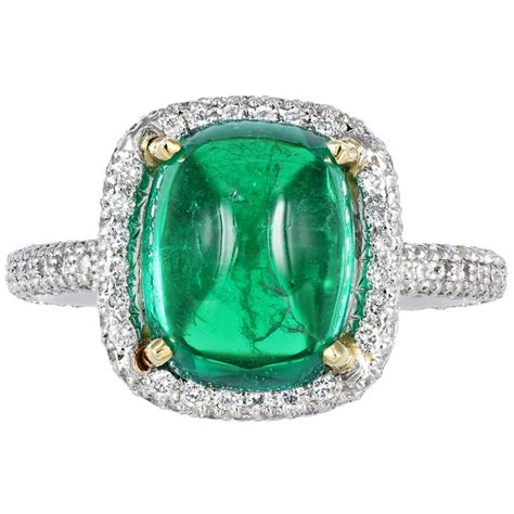 4 01 carat cabochon columbian emerald solitaire