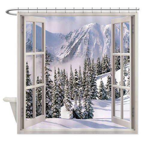 Winter Window Curtains Winter Window View Shower Curtain By Simpleshopping