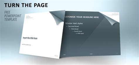 Turn The Page Template For Powerpoint Steel Blue Page Turning Effect In Powerpoint