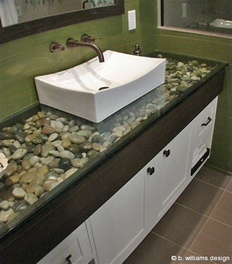 river rock under glass countertop dream house ideas pinterest
