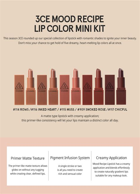 Lip Kit 100 Original Dan Ready Stock 3ce mood recipe lip color mini kit 5 color set 100 authentic ready stock with security sticker