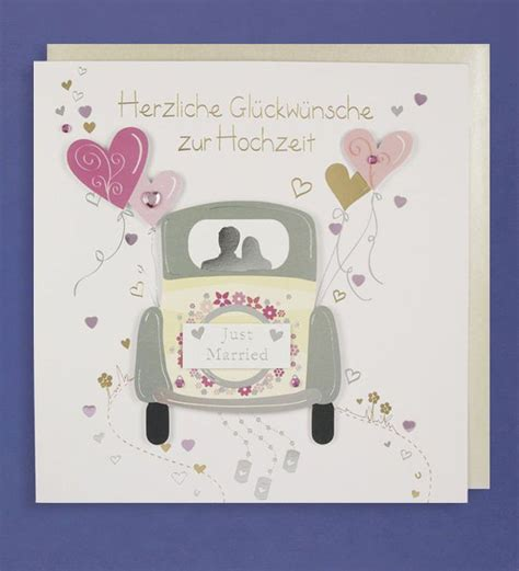 Just Married Auto Karte hochzeit gru 223 karte handmade applikation gl 252 ckw 252 nsche just
