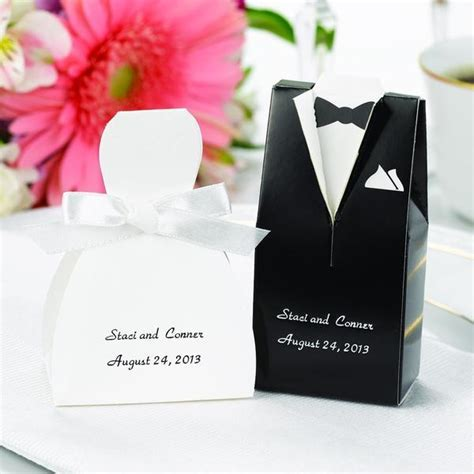 Personalized Gown or Tuxedo Wedding Favor Box ? Candy Cake
