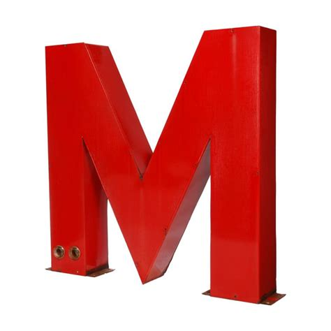 M Porcelain large porcelain letter m from a neon sign at 1stdibs