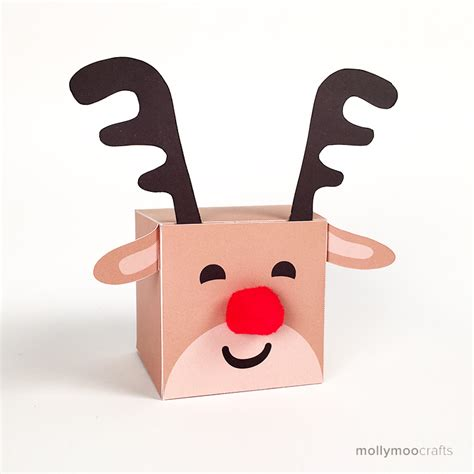 printable reindeer gift box mollymoocrafts free printables reindeer treat box