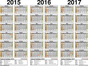 2015 To 2017 Calendar 2015 2016 2017 Calendar 4 Three Year Printable Pdf Calendars