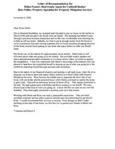 Reference Letter Real Estate Letter Of Recommendation For Real Estate Letter Of Recommendation