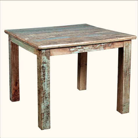 Wooden Kitchen Tables Rustic Reclaimed Wood Distressed 40 Quot Square Kitchen Dining Table Furniture Ebay