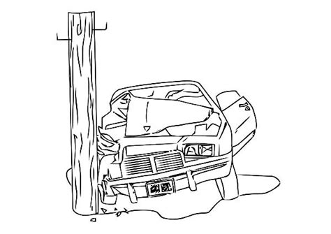 coloring page of car crash camaro cars crashing electricity pole coloring pages