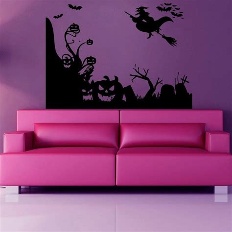 Halloween Wall Mural wall decals witch on broomstick halloween vinyl sticker