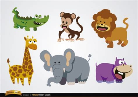 imagenes de animales con z animales salvajes de dibujos animados de vectores