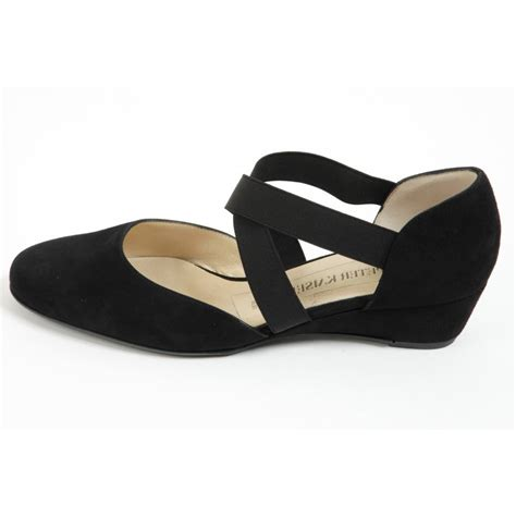 Peter Kaiser Jaila   Black suede corss strap low wedge