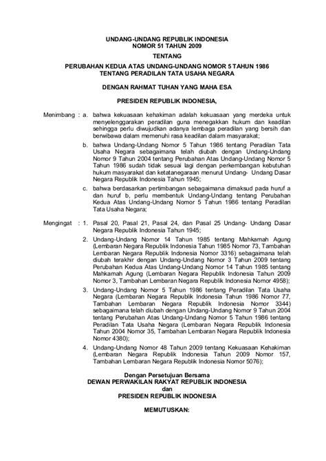Peradilan Tata Usaha Negara uu no 51 tahun 2009 perubahan kedua atas undang undang