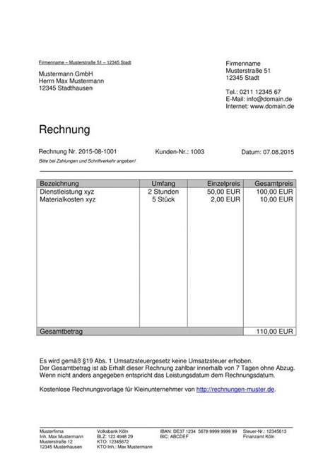 Freiberufler Rechnung Firmenname Berater Rechnung Vorlage Rechnung Freiberufler Vorlage Rechnungsvorlagen F 252 R Kleinunternehmer