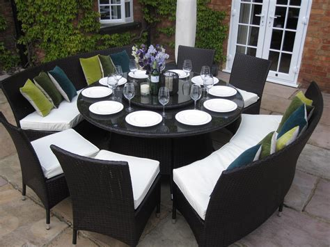 outdoor dining bench seating patio round dining table benches and chairs rattan garden
