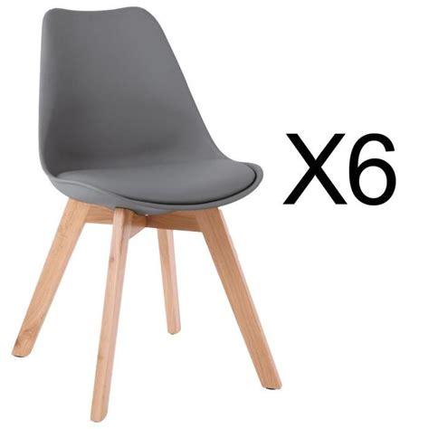 chaises lot de 6 lot de 6 chaises style scandinave catherina gris achat
