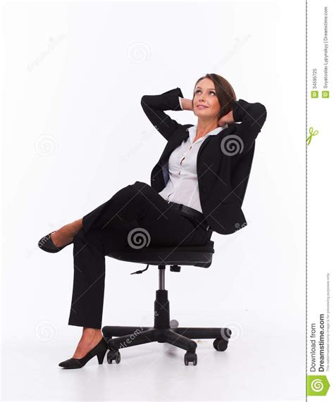 sit on the chair businesswoman sit on chair royalty free stock photo