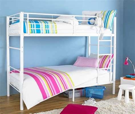 White Metal Bunk Bed Splittable Bunk Bed Frame White Metal Bunk Bed With Ladder Ebay