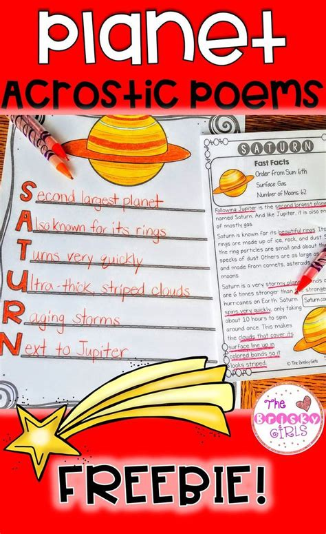 planet writing acrostic poems freebie planets activities