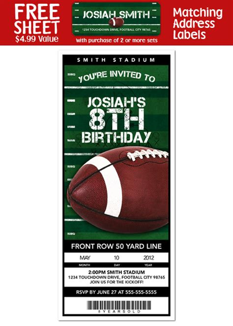 football ticket invitation template football theme mommas