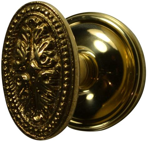 solid brass avalon oval door knob set plate