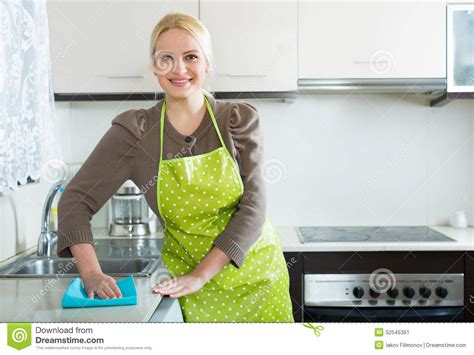 cleaning in kitchen stock photo image 52545361