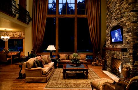 rustic living room curtains cozy living room with fireplace and traditional furniture