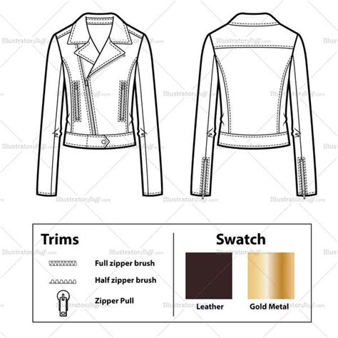pattern leather illustrator leather moto jacket with front waist tab flat template