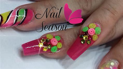 imagenes de uñas acrilicas con flores 3d u 241 as de acrilico flores espiral 3d paso a paso youtube