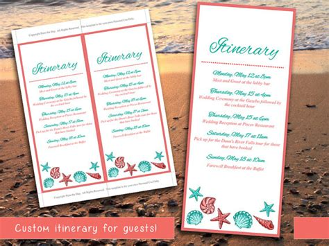 beach wedding itinerary template wedding planner coral