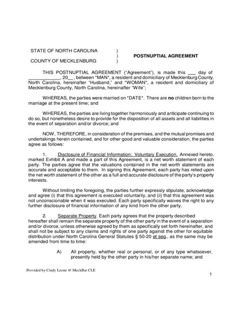 postnuptial agreement form   templates   word