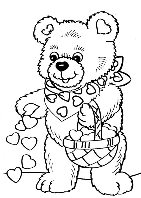 valentine s day bear coloring page coloring book